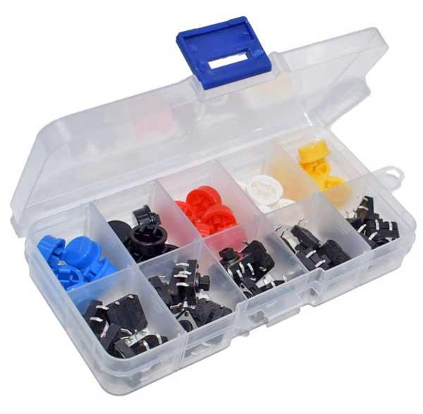 Box 25 Pulsanti 12x12x7,3 - 5 colori