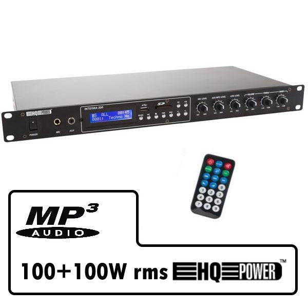 Amplificatore 2x100 watt con lettore MP3, Radio FM