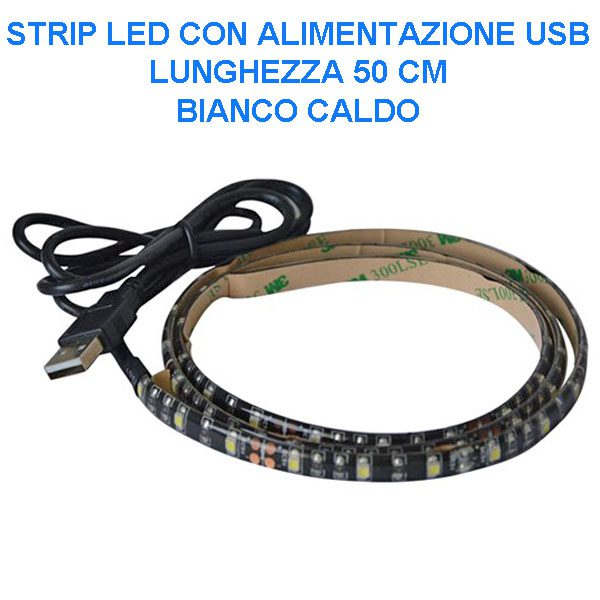 USB Strip 30 LED luce calda - 180 lumen